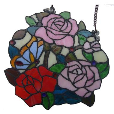 GP0027-rose flower tiffany style Stained Glass Window Panel suncatcher