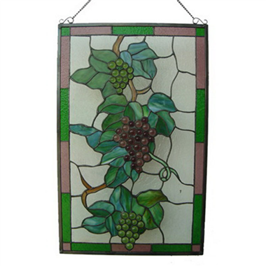 GP00011 Handcrafted Tiffany Style stained glass grape window panel