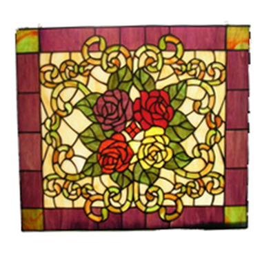 GP00013 tiffany glass rose flower window panel stained glass decoration