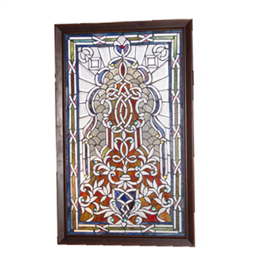 GP00014 Tiffany Style Jeweled Beveled stained glass window panel.