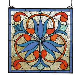 GP0015-Mission Art Nouveau style Stained Glass Window Panel suncatcher