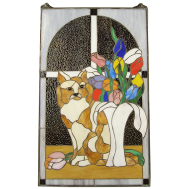 GP0016 Tiffany Style Cat Window Panel and Display Suncatcher