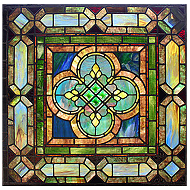 GP0021 green mottledrepair tiffany glass panel flower stained glass window panel home decoration