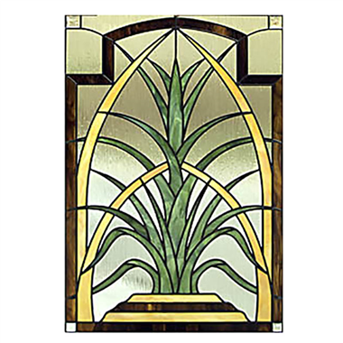 GP00022  tiffany glass palmarches window panel stained glass decoration