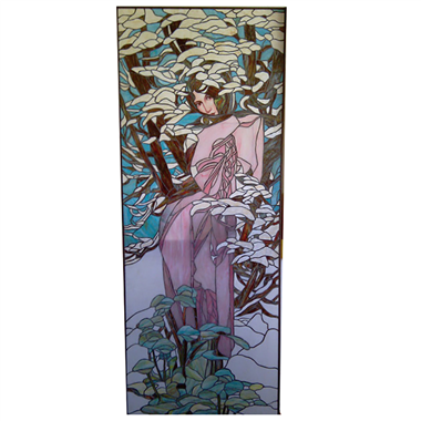 GP00023 Handcrafted Tiffany Style stained glass  Lady  wall decoration