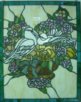 GP0026 Handcrafted Tiffany Style stained glass bird and flower window and door panel suncatcher