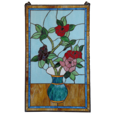 GP0028 Tiffany stained glass door and window panels flower in vase suncatcher