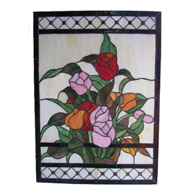 GP00029 Handcrafted Tiffany Style stained glass flower window and door panel suncatcher