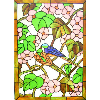GP00032 Handcrafted Tiffany Style stained glass bird and flower window and door panel suncatcher