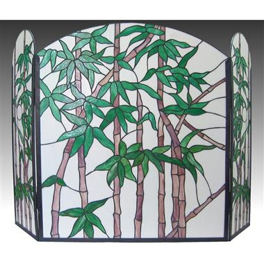 FC0002 Bamboo Tiffany Style Stained Glass Fireplace Screen Vintage Decoration