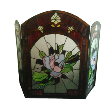 FC0001f Hand-cafted Victorian Floral Stained Cut Glass Tiffany Fireplace Screen Vintage Decoration