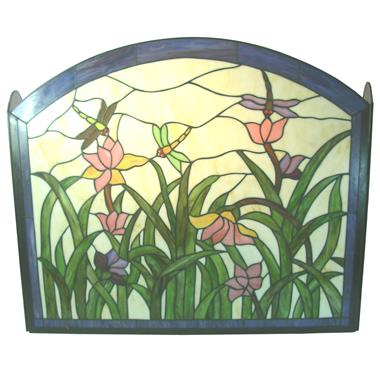 FC0004 Hand-cafted dragonfly and Floral Tiffany Stained Glass Fireplace Screen Vintage Decoration