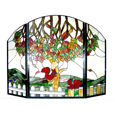 FC0005 Tree of life Tiffany Style Stained Glass Fireplace Screen Vintage Decoration