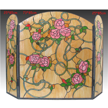 FC0003 Flower Tiffany Style Stained Glass Fireplace Screen Vintage Decoration