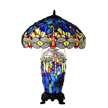 CL180004-Dragonfly  tiffany cluster double lit table lamp
