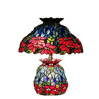 CL180005-Flower  tiffany cluster double lit table lamp