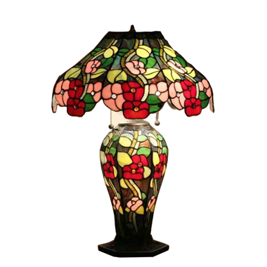 CL180006-Flower  tiffany cluster double lit table lamp