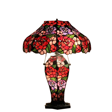 CL180007- ROSE Flower  tiffany cluster double lit table lamp