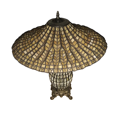 CL180008- Bamboo hat tiffany cluster double lit table lamp
