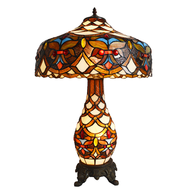 CL180003-Tiffany cluster double lit table lamp tiffany lamp