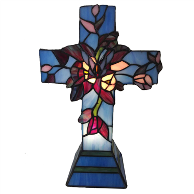 TLC00041-tiffany Christ  cross accent table lamp tiffany table lighting