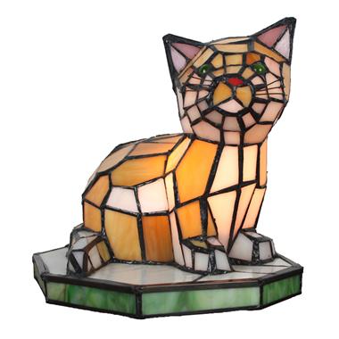 TLC00045-cat tiffany accent lamp table decoration lamp