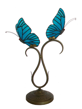 TLC00079 Two butterfly tiffany lamp table lamp