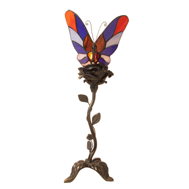 TLC00078 one butterfly on rose tiffany lamp table lamp art lights