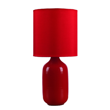 TRF070001-18x38 simple design red ceramic table lamp modern table light with fabric lampshade home d