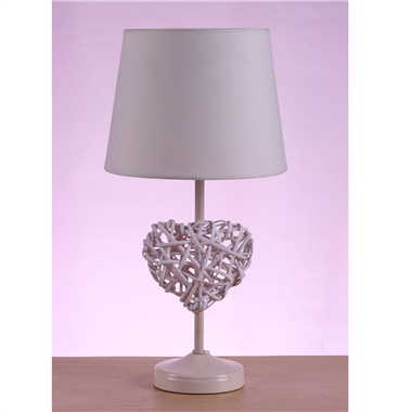 TLF00002 white modern table lamp metal base with fabric lampshade heart shape ratten home decor nove