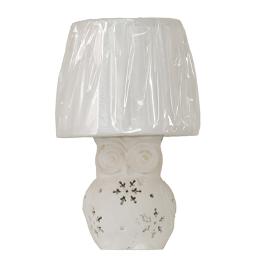 TLF070004 White Owl Ceramic Table Lamp fabric lampshade home decor mini table lights