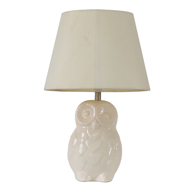 TRF110007  11 inch ceramics owl base modern fabric table lamp cloth lighting jiufa lighting
