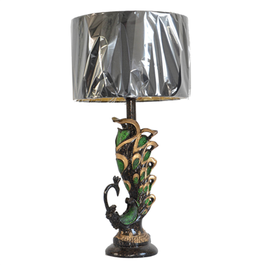 TRF120002 12 inch peacock table lamp fabric table lamp modern light