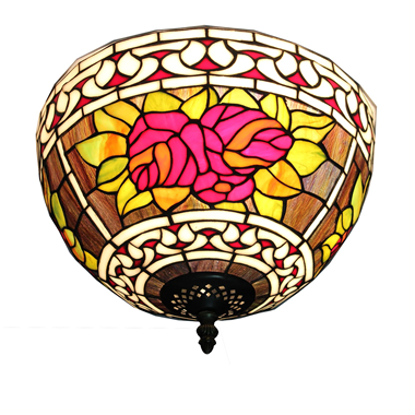 CE120002 12 inch Tiffany Style ceiling lamp Round Glass Flush Mount Ceiling Lighting