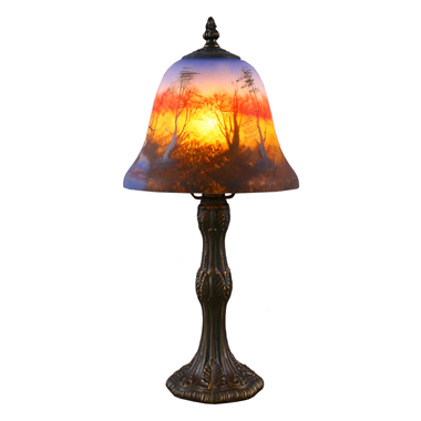 TRH070001 7 inch Bell Shade Forest Scene At Sunset Reverse Hand-Painted Glass Lamp