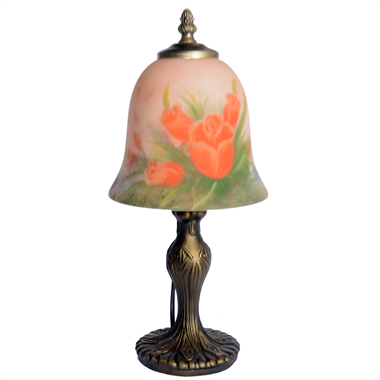 TRH070002 7 inch Bell Shade Tulips flower Hand-Painted Glass Lamp