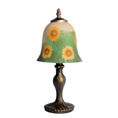 TRH070003 7 inch Bell Shade flower Hand-Painted Glass Lamp factory