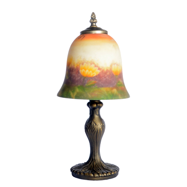 TRH070004 7 inch Bell Shade  flower Hand-Painted Glass Lamp factory