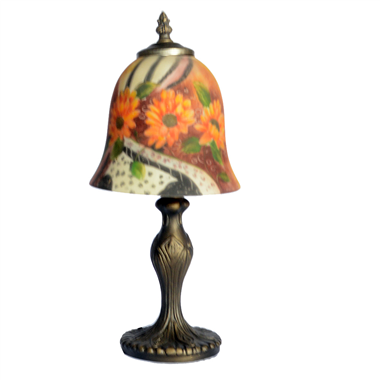 TRH070005 7 inch Bell Shade flower Hand-Painted Glass Lamp factory