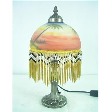 TRH080001 8 inch Reverse Hand Painted Lamp fringed table lamp Setting sun  Coconut tree Sandy beach