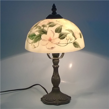 TRH080007 8 inch Reverse Hand Painted Lamp flower glass table lamp