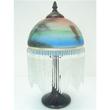 TRH080001 8 inch Reverse Hand Painted Lamp fringed table lamp Sailing River View