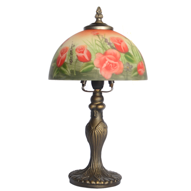 TRH080009 8 inch Reverse Hand Painted Lamp Tulips glass table lamp