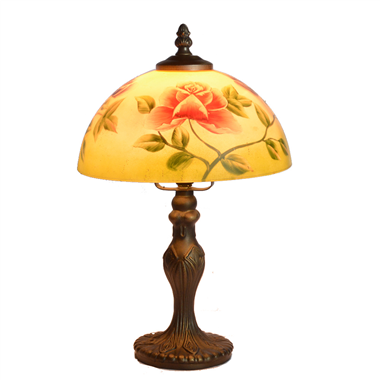 TRH080010 8 inch Reverse Hand Painted Lamp Deep Rich Bronze glass table lamp