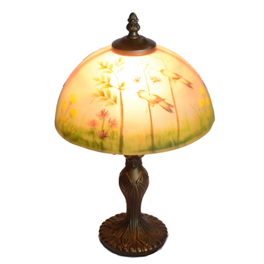 TRH080012 8 inch Reverse Hand Painted Lamp bird Grape glass  table lamp