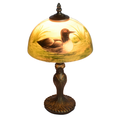 TRH080013 8 inch Reverse Hand Painted Lamp waterfowl Grape glass  table lamp