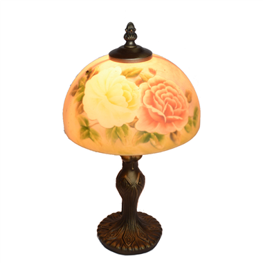 TRH080014 8 inch Reverse Hand Painted Lamp tow roses Grape glass  table lamp
