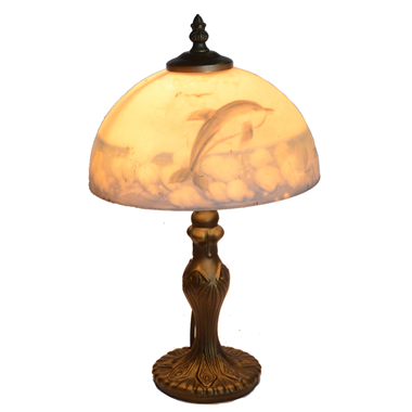 TRH080016 8 inch Reverse Hand Painted Lamp Ocean Series Dolphin glass table lamp