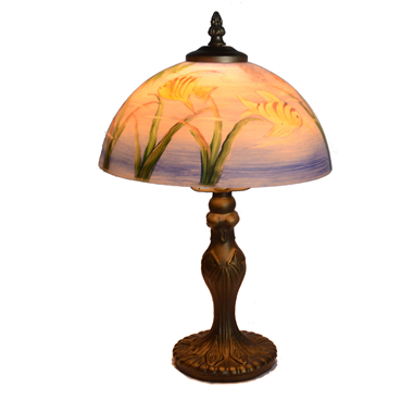 TRH080020 8 inch Reverse Hand Painted Lamp fish Grape glass  table lamp