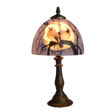 TRH080021 8 inch Reverse Hand Painted Lamp moon and love bird Grape glass  table lamp